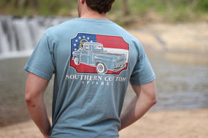 Blue Southern Cotton Dad's Old Truck Pocket Tee
