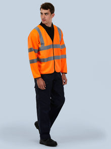 Uneek Hi Vis Long Sleeve Safety Waist Coat Orange UC802
