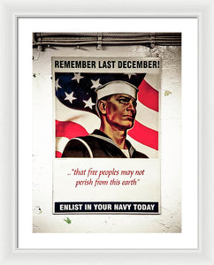 Enlist In Your Navy  - Framed Print