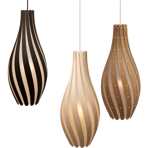 Swish Pendant Light: Large + Natural + Caramel + Black