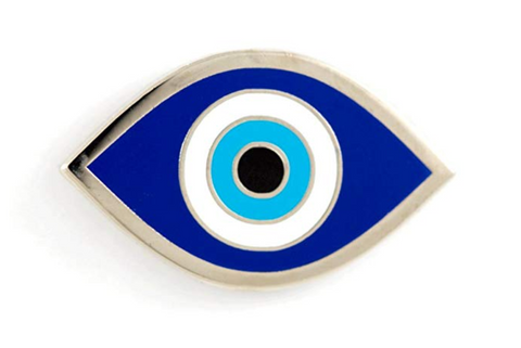 blue evil eye pin for backpacks and clothing