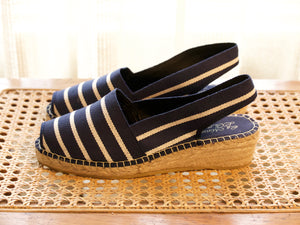 Classic Navy Striped Wedge Espadrille