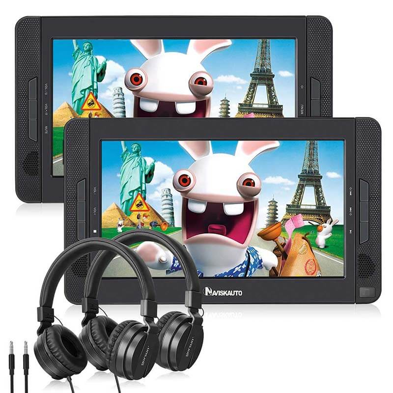 Dual Screen DVD-Player 10,1-Zoll-TFT-HD-Display Eingebauter Akku für Kinder