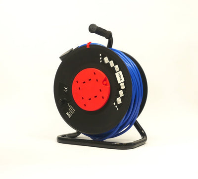 230V 50m Extension Reel - 4 x Sockets Heavy duty, Site Strength Cable Drum Dispenser - Product Code CRP50230