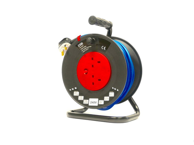 230V 25m Extension Reel - Twin Socket Heavy Duty, Site Strength Cable Drum Dispenser  - Product Code CRP25230