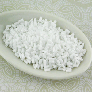3mm Bugle Beads_Opaque White_9 grams