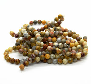 Australian Crazy Lace Agate Beads_6mm Rounds_Bead Strand