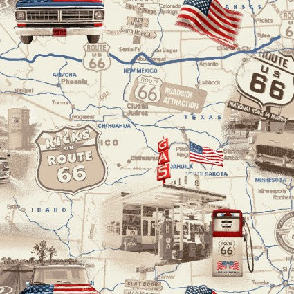 Travel Map All-American Road Trip Cotton Fabric by Studio E 4314-33
