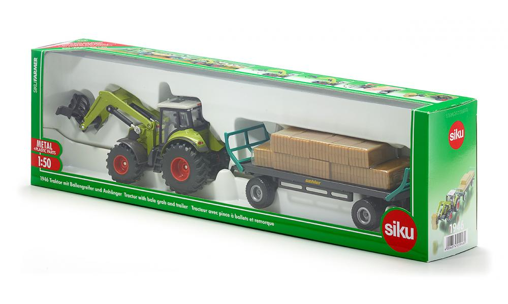 Claas Tractor with Loader & Bale Trailer (Siku) [1946]