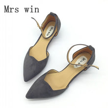ShoeFits - gray pointy flats women fashion shoes