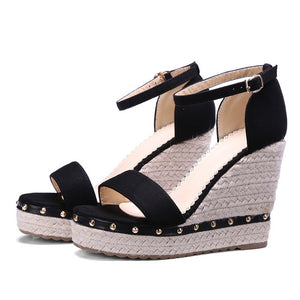 ShoeFits - Platform high heel ankle strap wedges shoes women