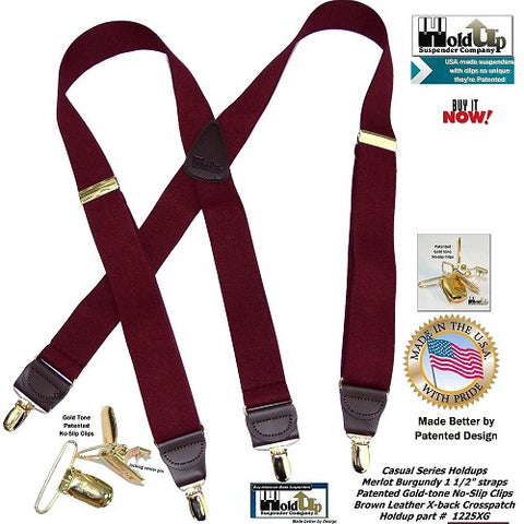 Casual Series Merlot burgundy X-back suspenders with Gold no-slip clips