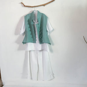 white and mint linen outfit made to measure listing- linen clothing by anny
