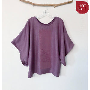 over size purple raw silk top with vintage kimono panel ready to wear - linen clothing by anny