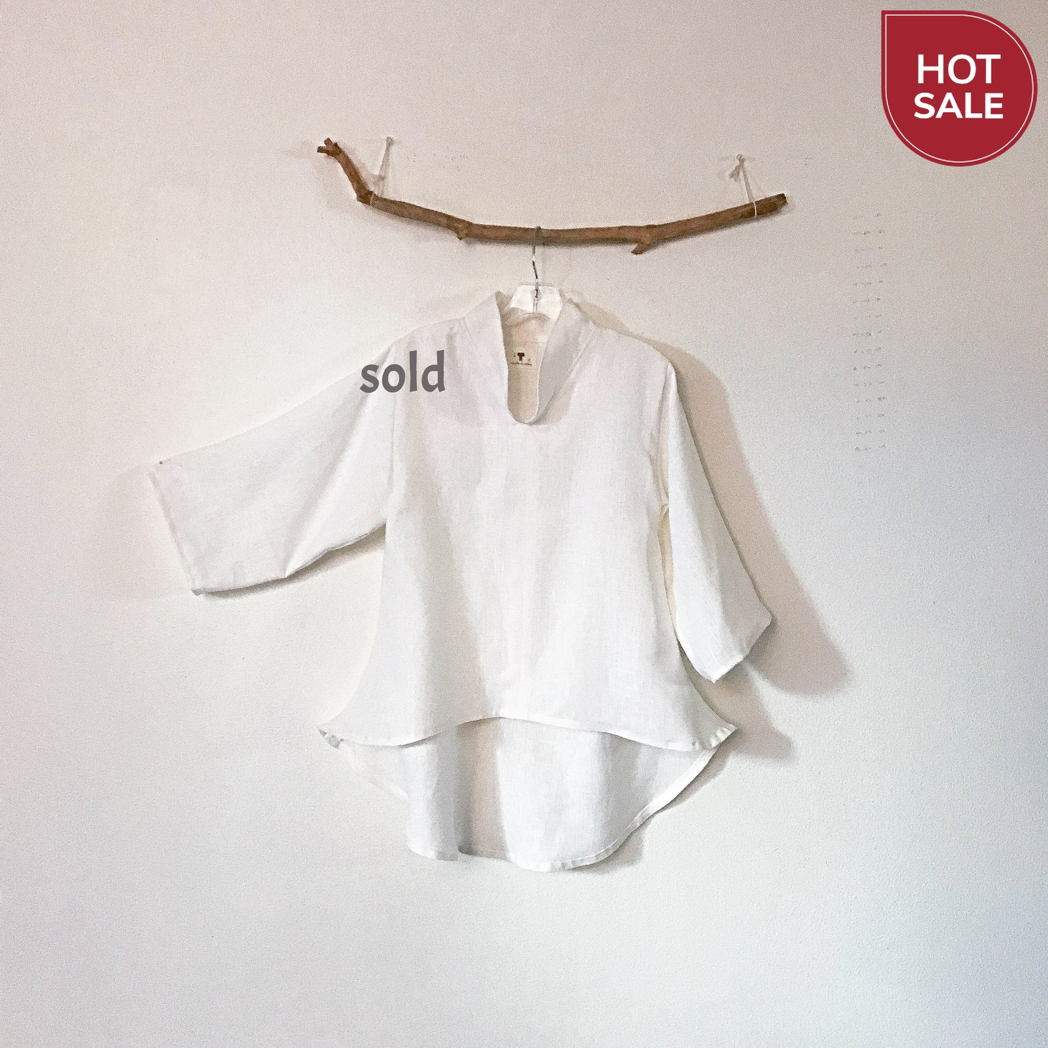 ready to wear chipao collar white heavy linen blouse