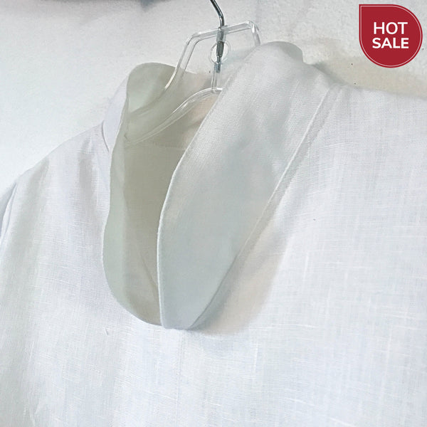 size M ready to wear chipao collar white heavy linen blouse