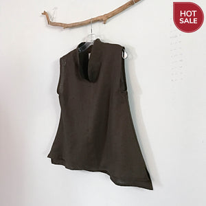 size S size M brown linen sleeveless top