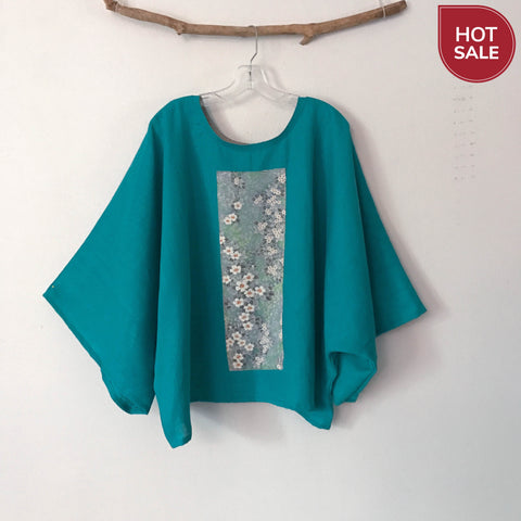 oversized turquoise linen top with vintage kimono panel ready to wear