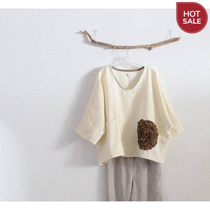 cream flower ginger linen top ready to wear