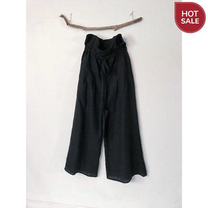 black linen drawstring lotus wide leg pants with side pockets-pants-linen clothing by anny