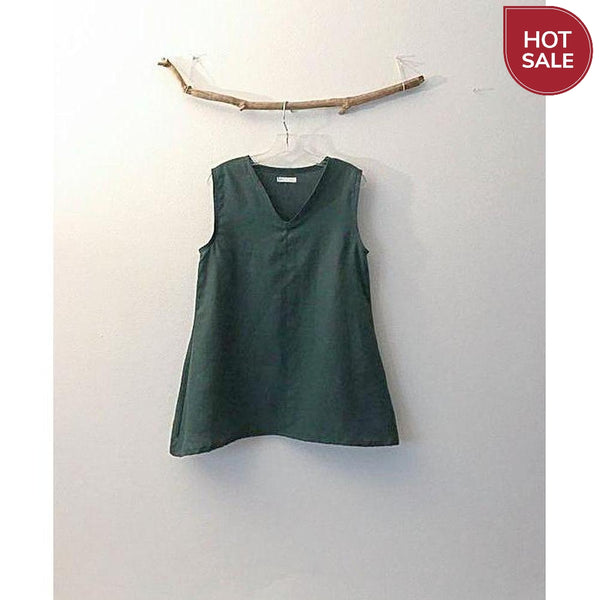 size M emerald linen top ready to wear-top-linen clothing by anny