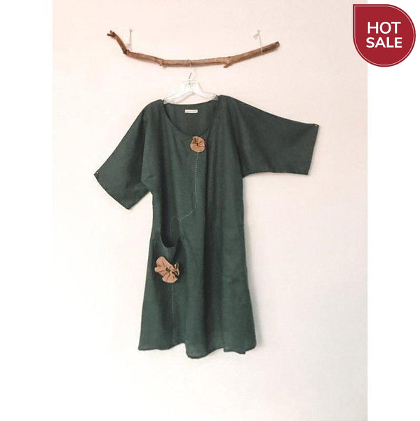 size M emerald linen dress ready to ship-dress-linen clothing by anny