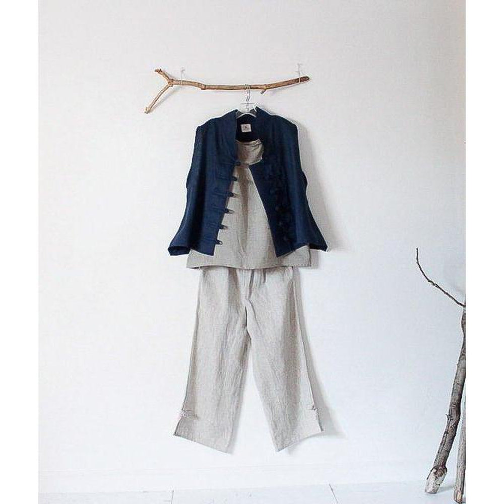 custom SUMMER linen outfit tank top VEST pants-linen outfit-linen clothing by anny