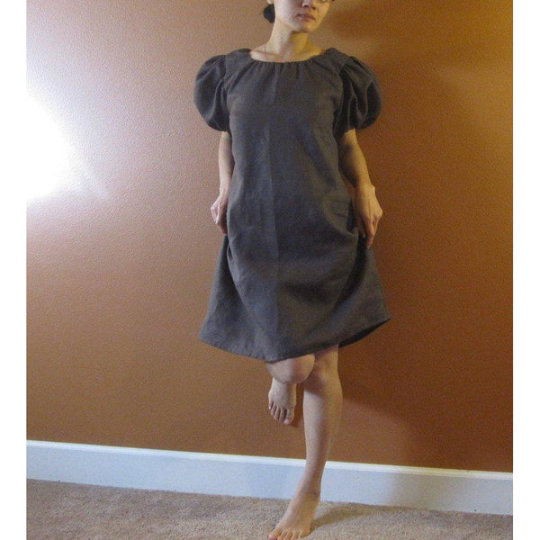 custom linen puffy sleeve tunic dress-linen clothing by anny