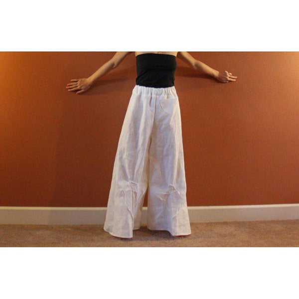 custom mid weight linen rose tucks wide leg pants-linen clothing by anny