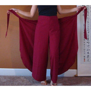 cotton wrap around pants for waist 36 inches and under made to order-linen clothing by anny