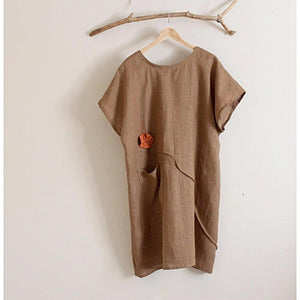 custom linen tunic dress with soots and flowers-linen clothing by anny