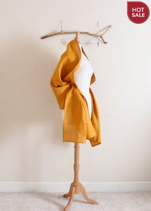autumn gold linen wrap shawl scarf ready to wear-accessories-linen clothing by anny
