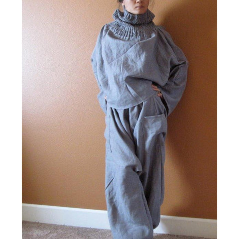 linen outfit smocked turtle neck top and chipmunk low crotch pants