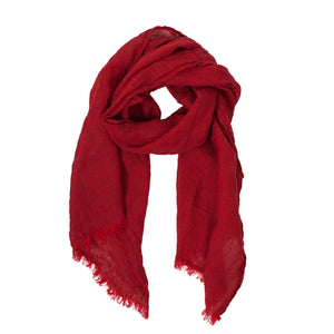 100% Linen Scarf - Bright Red