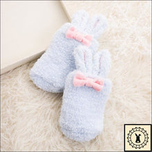 Load image into Gallery viewer, Fluffy Kids Rabbit Socks. (3M-24M) Blue / 3M