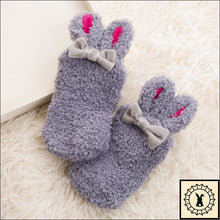 Load image into Gallery viewer, Fluffy Kids Rabbit Socks. (3M-24M) Gray / 3M