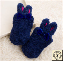 Load image into Gallery viewer, Fluffy Kids Rabbit Socks. (3M-24M) Navy / 3M