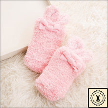 Load image into Gallery viewer, Fluffy Kids Rabbit Socks. (3M-24M) Pink / 3M