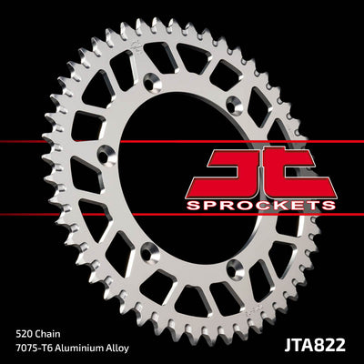 JTA822 Rear Alloy Drive Motorcycle Sprocket 52 Teeth (JTA 822.52)