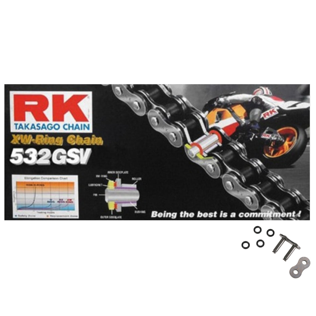 RK 532 GSV Silver 106 Link XW-Ring Super Heavy Duty Motorcycle Chain
