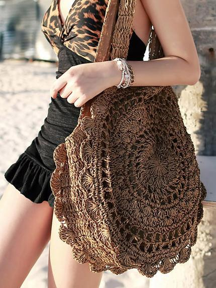 Crochetting Flower Knitting Bohemia Bag