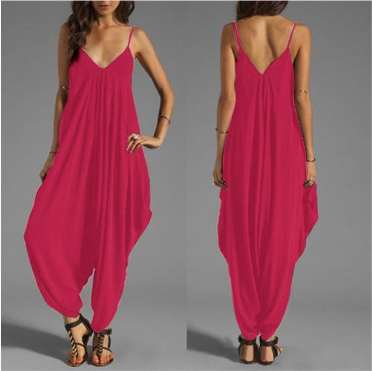 10 Colors Spagetti-neck Loose Long Jumpsuits