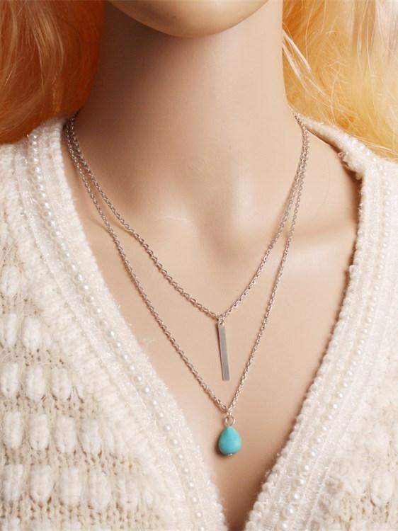 Simple Turquoise Alloy Necklaces Accessories