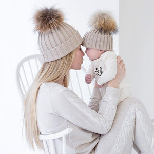 2Pcs Mother & Baby Winter Knit Pom Beanies