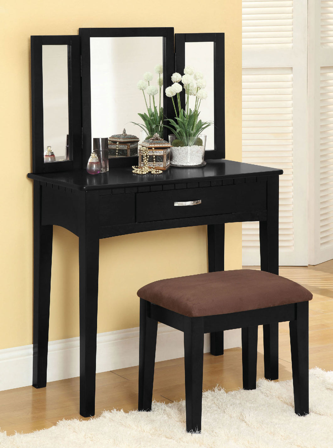 CM-DK6490BK Vanity Set - Potterville Black Finish Contemporary Style Vanity Table with Stool