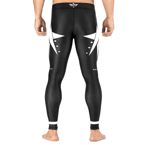Elite Sports Star Series Black/White Advance Compression Brazilian Jiu Jitsu BJJ Spat Pants