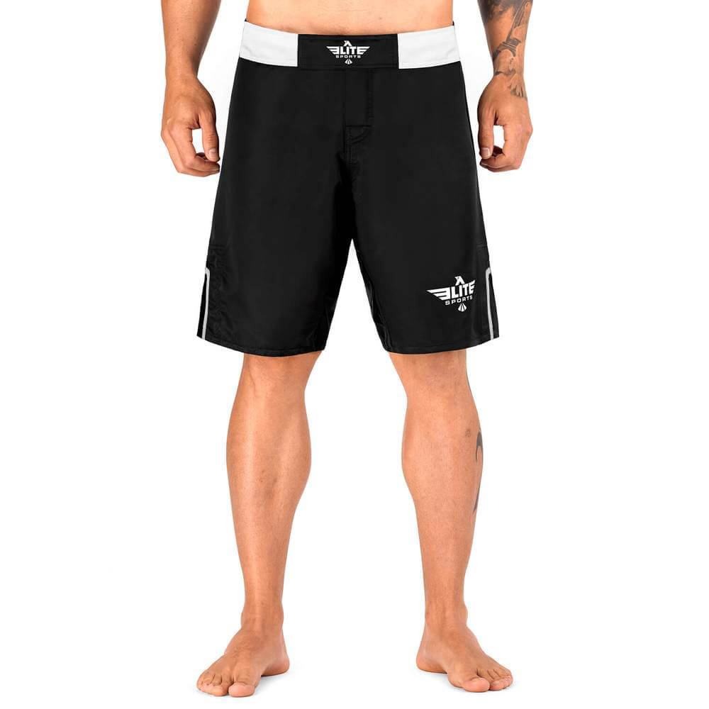 Load image into Gallery viewer, Elite Sports Black Jack Series Black/White Wrestling Shorts