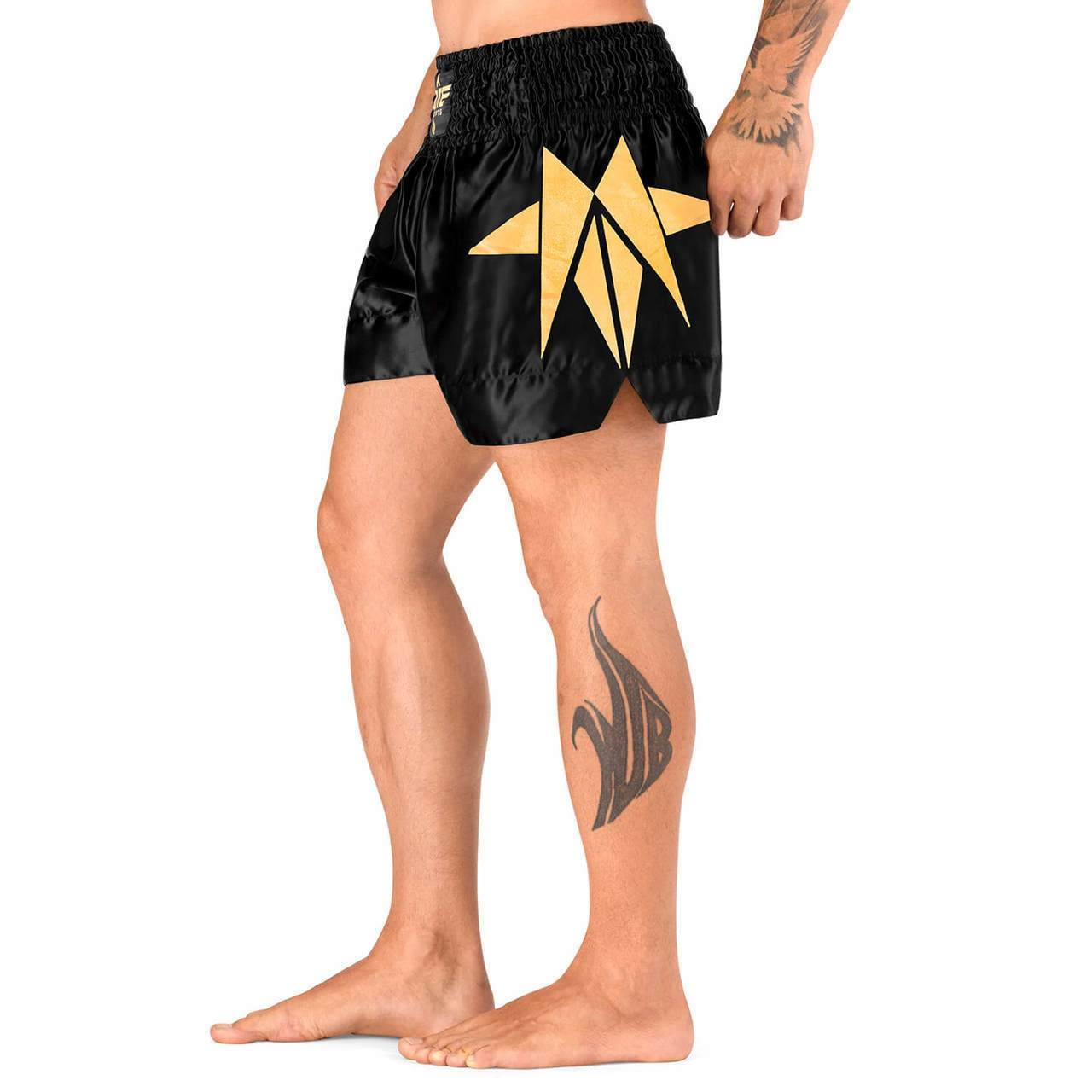 Load image into Gallery viewer, Elite Sports Star Series Sublimation Gold Muay Thai Shorts