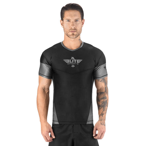 Elite Sports Honey Comb Sublimation Black/Gray Short Sleeve Rash Guard