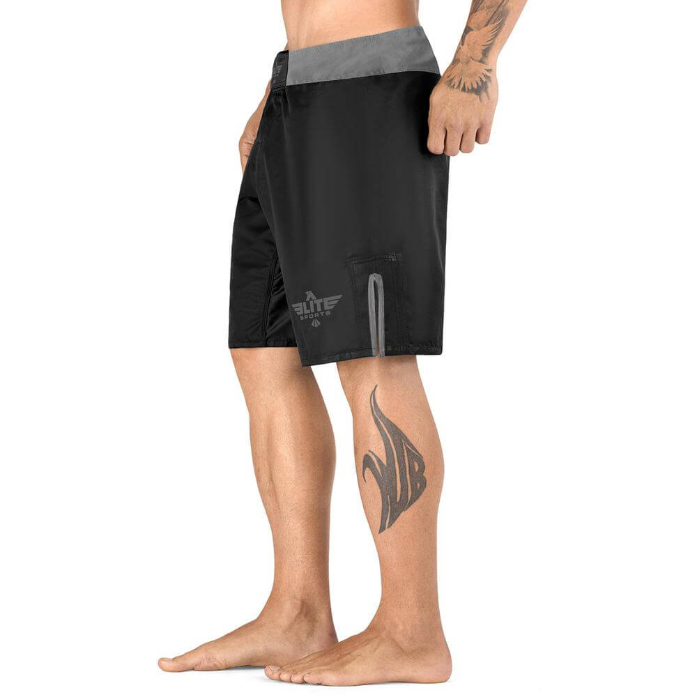 Load image into Gallery viewer, Elite Sports Black Jack Series Black/Gray Wrestling Shorts